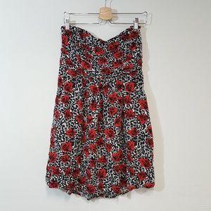 Torrid Strapless Leopard Rose Print Dress Size 2